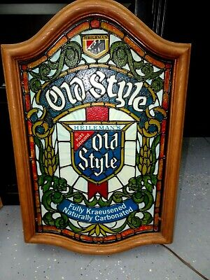 Vintage Heileman's Old Style Beer Lighted Bar Sign Faux Stained Glass Wood