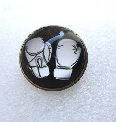 ZP442 Unusual Moustache Antique Bronze Style Domed Pin Badge Brooch White