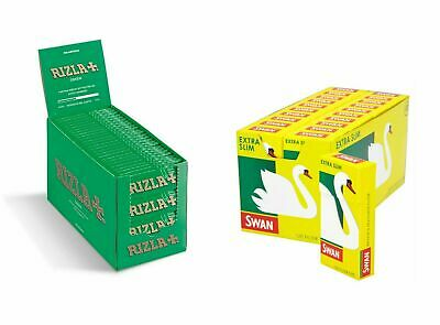 600 Rizla Green Papers & 600 Swan Extra Slim Filters Tips - Free Delivery