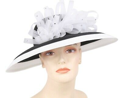 Women/'s Straw Church Derby Hats White 4650 Purple Brown Red Blue Green