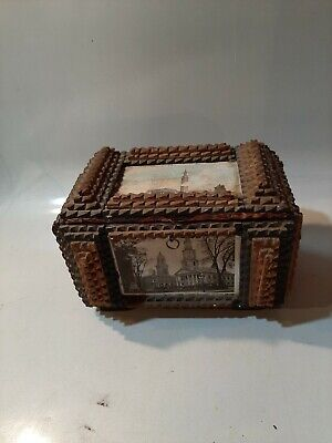 OLD ANTIQUE WOODEN TRAMP ART FOLK BOX HAND MADE CARVED Ornate SPRINGFIELD MASS.