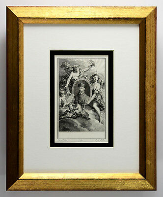 """WOW 1784 Original NICOLAS PONCE Etching """"Portrait of Marchand"""" Framed SIGNED COA"""