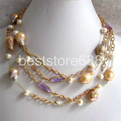 """18"""" 9-11mm Peach Pink Lavender Kasumi AA Freshwater Pearl Necklace"""