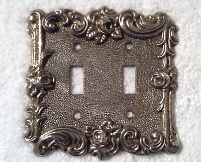 """Vintage 1967 American Tack & Hardware Double Switch Plate Cover """"rose""""  #60TT"""