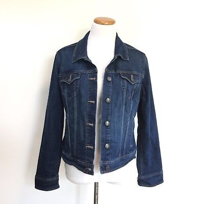 Old Navy Sz L Classic Style Stretch Blue Denim Jacket Great Look Womens Size L