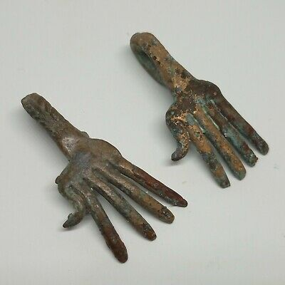 Bronze Etruscan Amulet Hand Pendant 2pc. Scythian Cult / Koban Celtic 1100-700BC