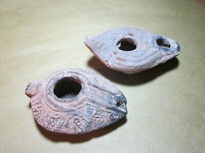 Two Antique Greco-Roman Pottery Oil Lamps