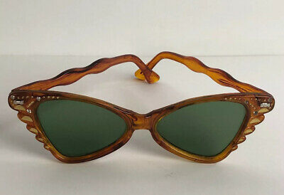 True Vintage Little Girls MOD Cat Eyes Sunglasses Tortoise Shell & Rhinestones