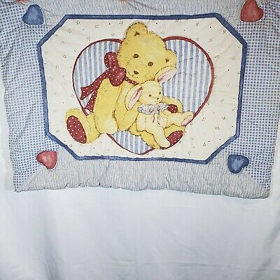 Vintage Teddy Beddy Bear Crib Comforter Baby Quilt Blanket Lambsy Dozy Quilted