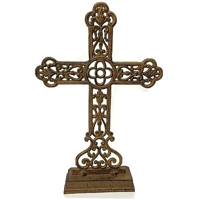 "Vintage Cast Iron Cross 19"" Rustic Decorative Standing Pedestal Church Art  EUC"