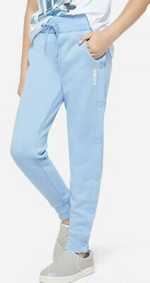 """Justice Girls' Side Snap Blue Joggers, Size 14/16""""Justice"""" Graphic"""