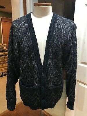 Vintage Neiman Marcus Wool Blend Cardigan Men's Large Blue and Grey