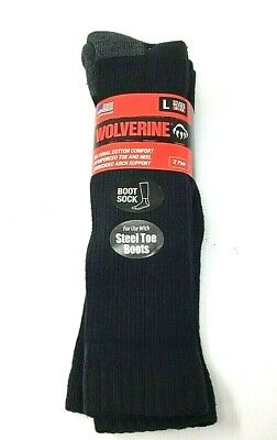 2 Pack Wolverine Cotton Over-the-Calf Steel Toe Boot Sock Black Grey Heel LARGE!