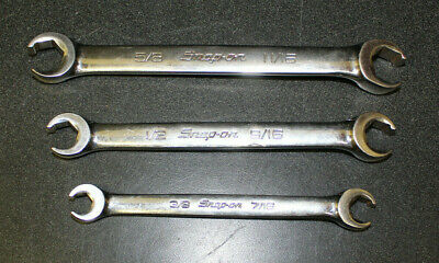 "Snap On 3PC SAE Flare Nut Line Wrenches!  3/8"" - 11/16""  Preowned!!!"