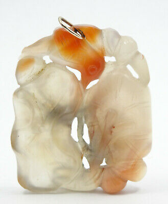 DETAILED ANTIQUE CHINESE EXPORT PIERCED CARVED HETIAN JADE PENDANT w/ 10K BALE