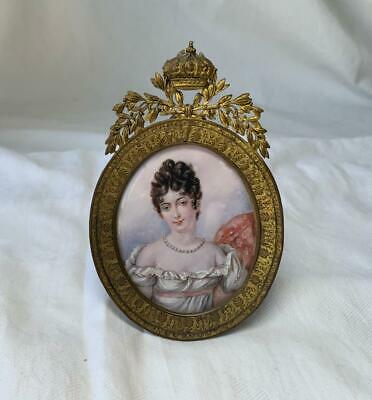 Hand Painted Portrait Miniature Painting French Ormolu Crown Frame 19th Century