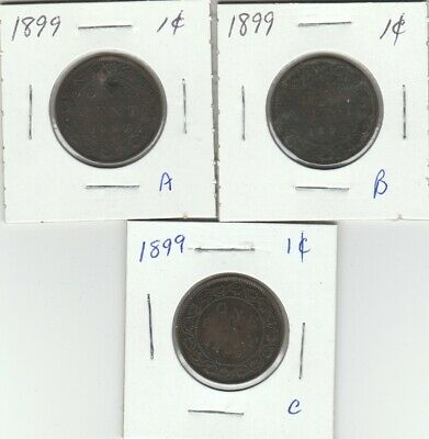 1899 Large Cents (3 coins)