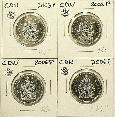 2006 P Canada 50 Cents Lot of 4 Uncirculated Coins Specimen #4092