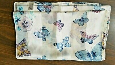Vintage Scarf Cream White Blue Gold Butterflies Stripes of Shiny & Sheer Italy