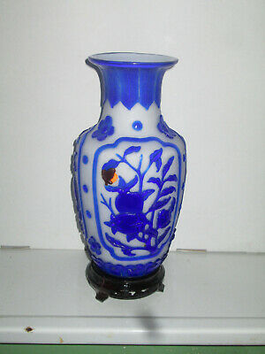 11'' Vintage Chinese Peking White Blue Glass Carved Etched Cameo Vase  Flowers