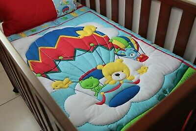 Blue Large Balloon Ride Cot Quilt with pillow case