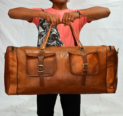 """30"""" Real Brown Leather Duffle Bag Sports Gym Bag weekend Travel AirCabin Luggage"""