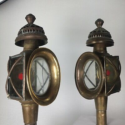 Antique pair of Carriage Light Lamp Coach Candle Lantern Collectable brass