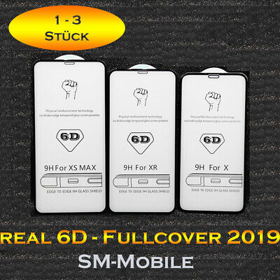 6D Glas iPhone X XS XR MAX 11 Pro 6 7 8 Plus 9H Full Screen Cover Panzer Folie