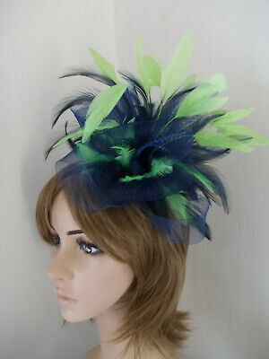 Navy Blue & Lime Green Fascinator feathers hair clip