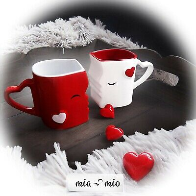 VALENTINES DAY ROMANTIC GIFTS His & Her Love for couple kissing mugs heart cute