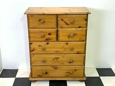 Rustic vintage sturdy solid pine tallboy chest of drawers with seven drawers