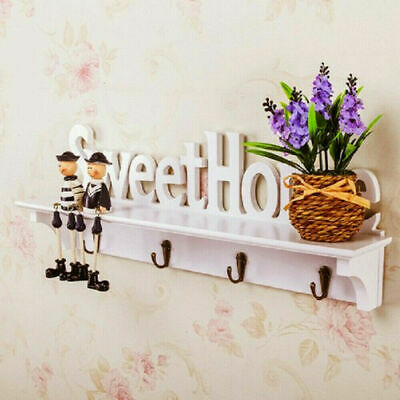 Wooden Wall Mounted Rack Home Hanging Hanger Hooks Clothes Key Holder Cute