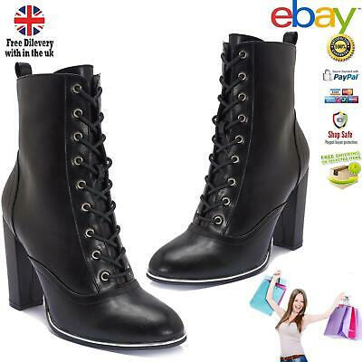 Ladies Lace-Up Black Ankle Booties Leather Block Heel Boots | Party Wear Shoe