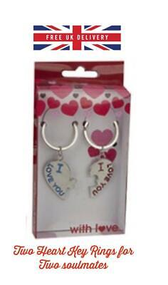 VALENTINES DAY ROMANTIC GIFTS for His Her Love Heart I love You Couple Key ring
