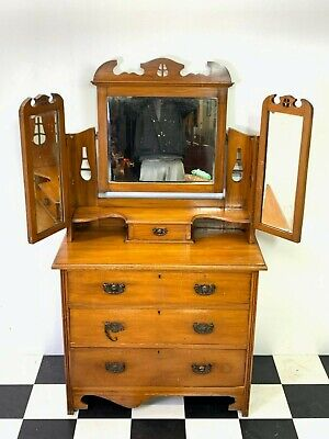Antique Edwardian satin walnut dressing chest table chest of drawers arts crafts