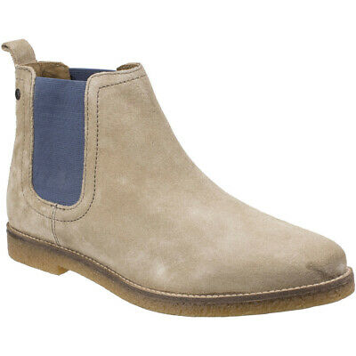 Base London TURRET Mens Casual Suede Leather Elasticated Chelsea Boots Taupe