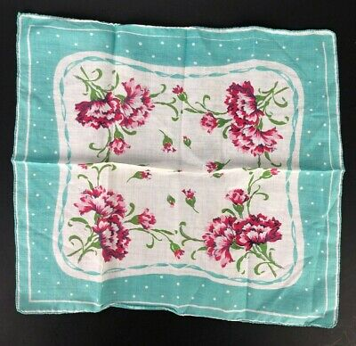 Sweet Vintage Handkerchief Turquoise White Polka Dots Border Pink Red Carnations