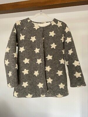 Zara Girls Jacket Coat Stars Gray Fleece Lambswool Fall Winter 14 Wool Manteau