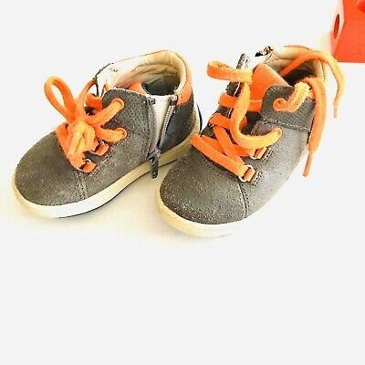 Clarks Toddler Shoes/sneakers/size 4.5/gray And Orange Colors/nonslip Sole/EUC
