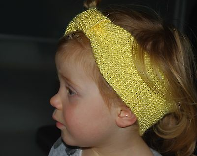 Baby Girl Headband Hand Knitted One Size Yellow