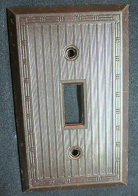 Switch Plate Wall Cover Dashed Lines Brown Bakelite Art Deco 1 Antique See Cond.