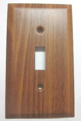 Amer Tack Toggle Switch Wall Cover Plate Steel Oak Wood Grain Retro Vintage 1