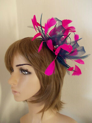 Navy Blue Cerise Hot Pink Looped fascinator feathers diamante headband