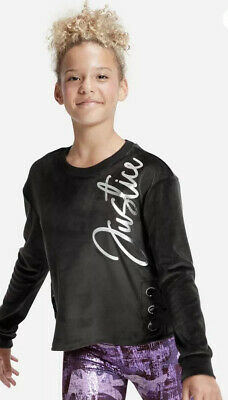 NWT JUSTICE GIRLS Sz 14/16 Black  VELOUR LACE UP SIDE SWEATSHIRT