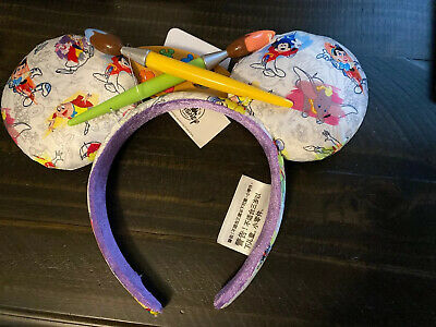 Disney Ink & Paint Mickey Mouse Ears Headband w/Dumbo, Mr. Toad, Mickey, Pinocc