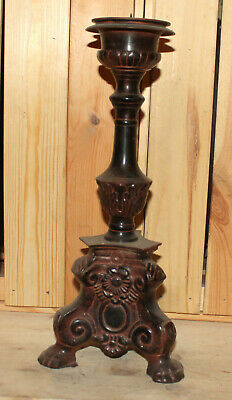 Antique hand made ornate floral solid metal footed candle holder
