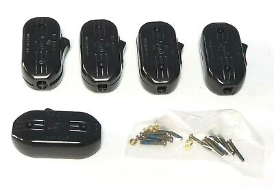 Lot of 5 Vintage Eagle Bakelite In-line Feed Through Cord Rocker Switch 15A NOS
