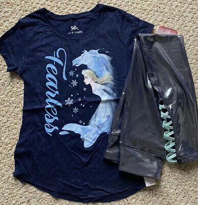 Justice disney frozen fearless tee& lace up shimmer crop leggings Size 14/16