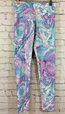 Justice Girls Leggings Size 14/16 Pink Blue Purple Silver Lines Active Wear Pant