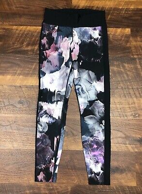 Running Bare 3/4 Leggings Beautiful Floral Print US size 4/6 Workout Yoga Womens